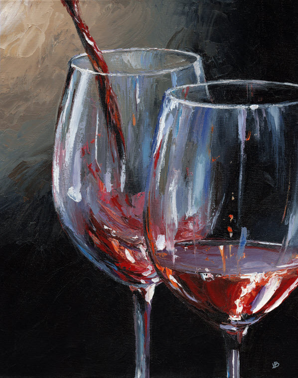 Couple two for Acrylic paint on wine glasses