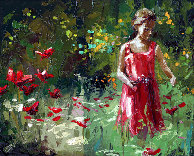 Picking Flowers oil painting Victor Bauer